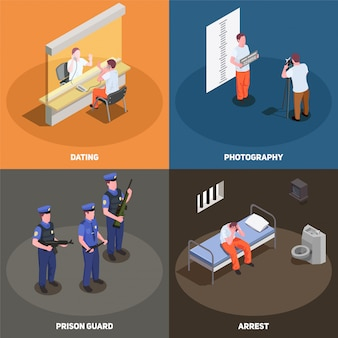 Prison jail scenes isometric card set
