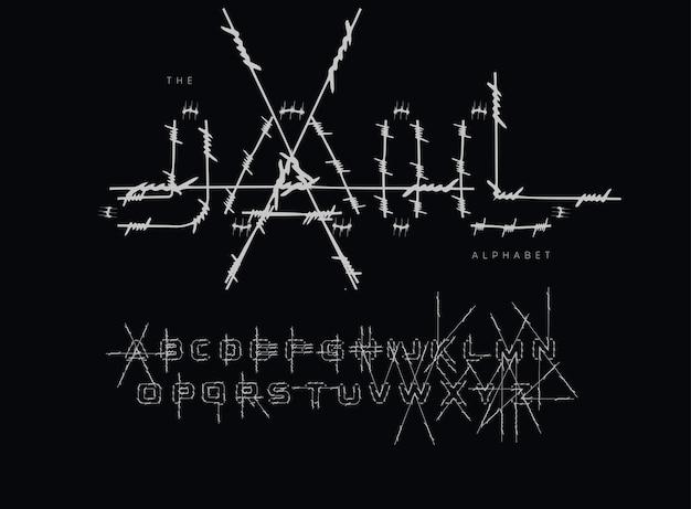 감옥 문자와 숫자를 설정합니다. 펜싱을 위한 철조망 스트로크. 이벤트, 프로모션, 로고, 배너, 모노그램 및 포스터용 글꼴입니다. 타이포그래피 디자인