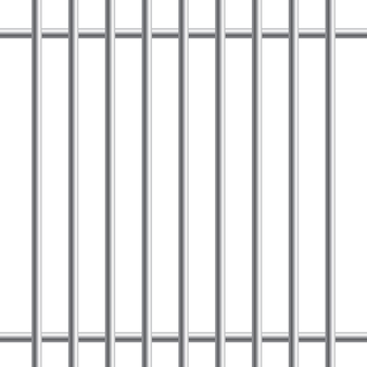 Prison metal bars or rods isolated on white background. realistic fence jail. way out to freedom. criminal or sentence concept.  illustration.