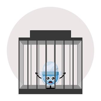 감옥 마이크 귀여운 캐릭터 로고