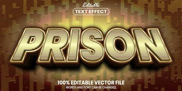 Prison text, font style editable text effect