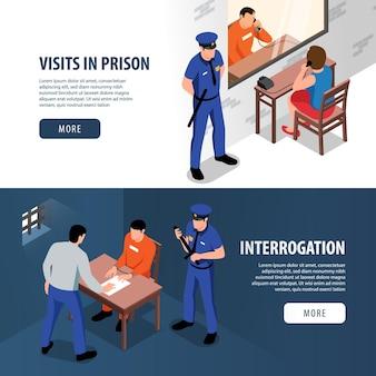 방을 방문하는 방문자와 죄수와 심문 실 그림에서 수갑에 형사와 범죄자와 감옥 두 아이소 메트릭 배너