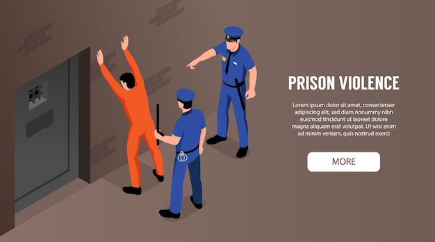 Prison violence with two policemen and detained standing near door illustration