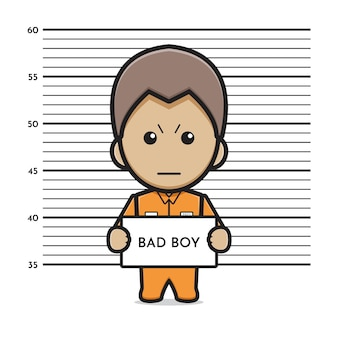 죄수 나쁜 소년 만화 아이콘 벡터 일러스트 레이 션. 디자인 고립 된 평면 만화 스타일