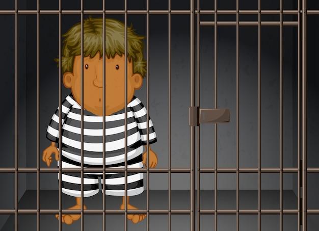 Заключенный заперт в тюрьме