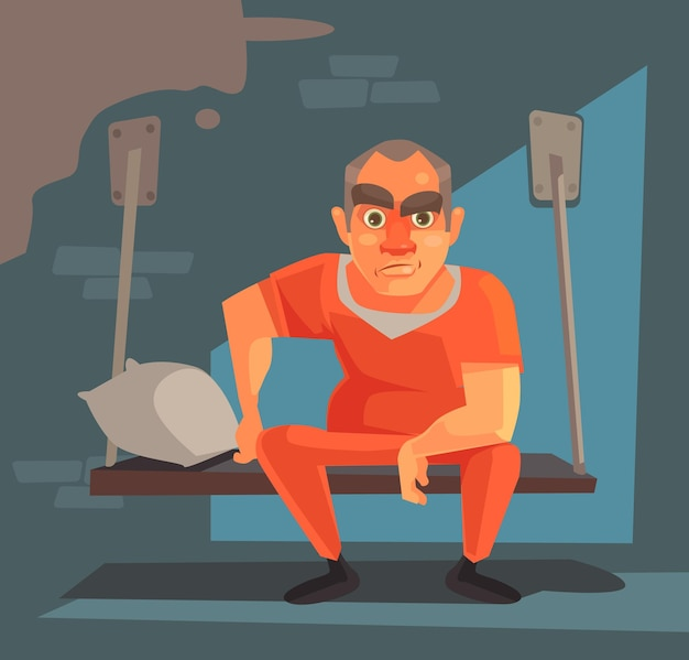 Персонаж заключенного человека в тюрьме плоская карикатура иллюстрации