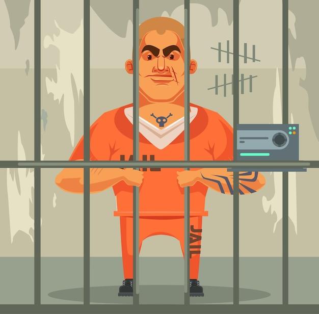 Prisoner man character in jail flat cartoon illustration
