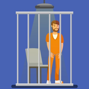 Prisoner behind metal bars illustration