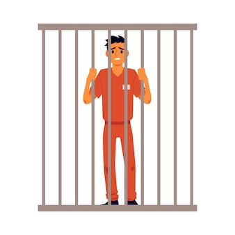 Prisoner in orange suit behind bars of a prison cell,   illustration  on white background. punishment system for crime and law breaking.