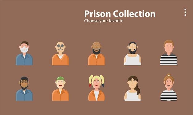 Prisoner robber criminal crime bandit cell mental wall lock illustration background character design