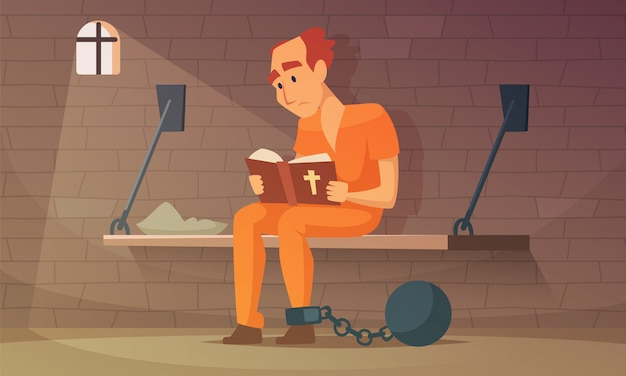 Prisoner sitting in cell and reading bible. vector robber guy, illustration of criminal person in jail