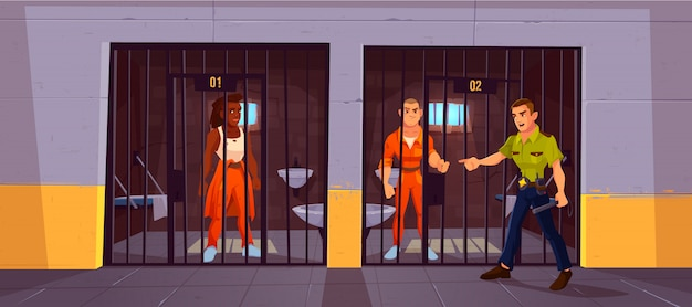 Prisoners in prison jail and policeman. people in orange jumpsuits in cell.