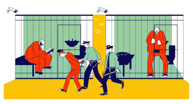 Prisoners in prison jail and policemen. people in orange jumpsuits in cell. cartoon flat illustration