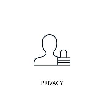 개인 정보 보호 개념 라인 아이콘입니다. 간단한 요소 그림입니다. 개인 정보 보호 개념 개요 기호 디자인입니다. 웹 및 모바일 ui/ux에 사용할 수 있습니다.