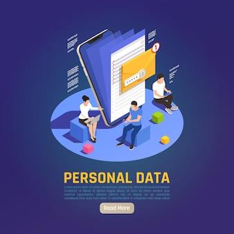 문자 폴더 그림 및 편집 가능한 텍스트가있는 개인 정보 보호 데이터 보호 gdpr 아이소 메트릭 그림
