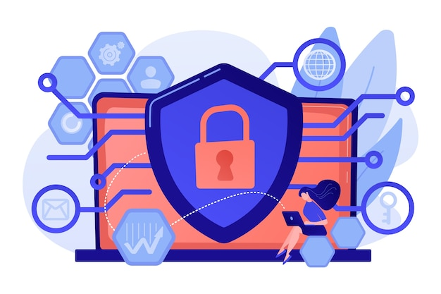 Privacy engineer at laptop with shield improving level of systems privacy. privacy engineering, privacy-centric model, personal data defence concept