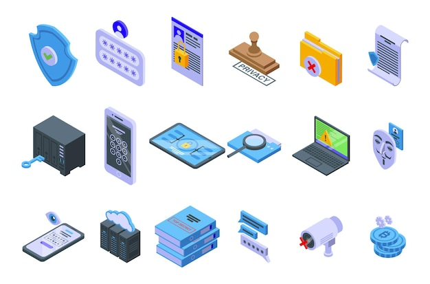 Privacy icons set. isometric set of privacy icons for web design isolated on white background