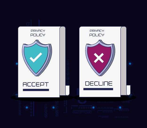 Политика конфиденциальности цифровая безопасность векторная иллюстрация дизайн