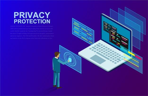Защита конфиденциальности и программное обеспечение для разработки с бизнесменом стояли перед компьютером с высоким уровнем безопасности.
