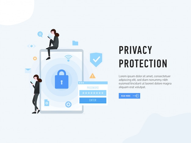 Privacy protection landing web page