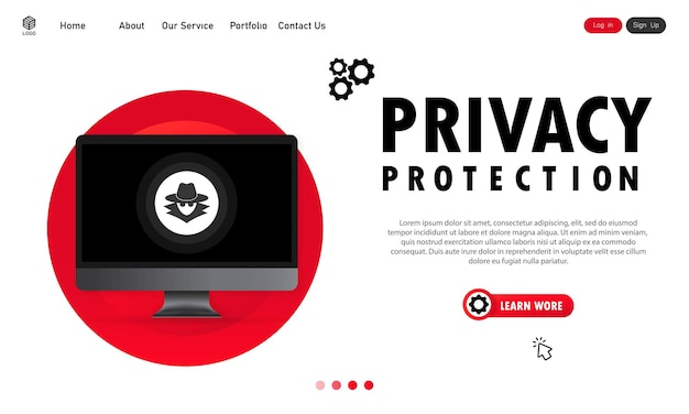 Защита конфиденциальности на компьютерном баннере. конфиденциальный процесс работы. вектор на изолированном белом фоне. eps 10.