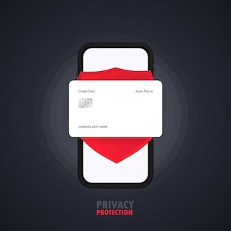 スマートフォンバナーのプライバシー保護。クレジットカード。仕事の機密プロセス。孤立した背景上のベクトル。 eps10。