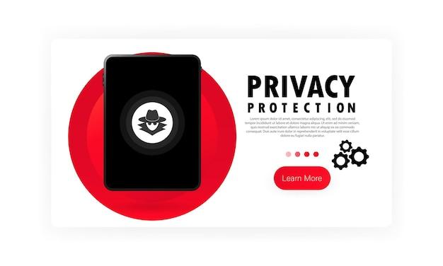 タブレットバナーのプライバシー保護。サイバーセキュリティデータ保護の概念。機密データ。孤立した白い背景の上のベクトル。 eps10。