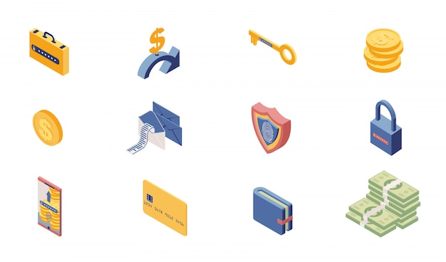 Private account access icons isometric set