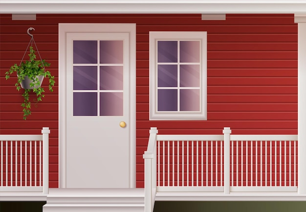 玄関ドアとフェンスで囲まれたポーチのリアルなイラストとプライベートカントリーコテージハウスファサード 無料ベクター