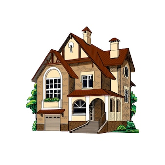 Private country house cottage on white background  illustration