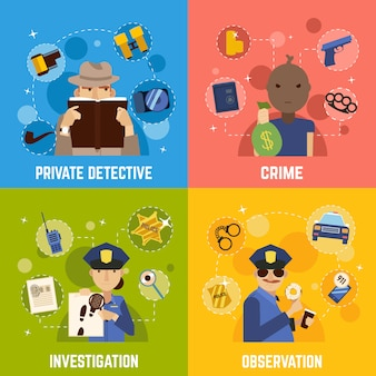 Private detective concept icons set