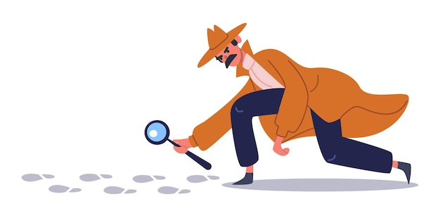 Private detective follows footprints. detective character crime investigation, private investigator on trail. detective character set. detective with magnifying, find footprint