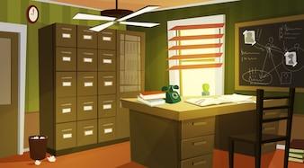 Частный детектив, офисный интерьер, мультфильм