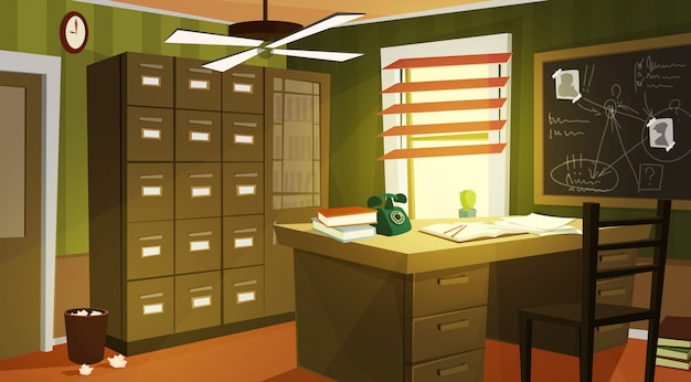 Private detective office interior cartoon