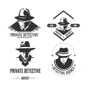 Private detective promotional monochrome emblems with man in hat and classic coat.