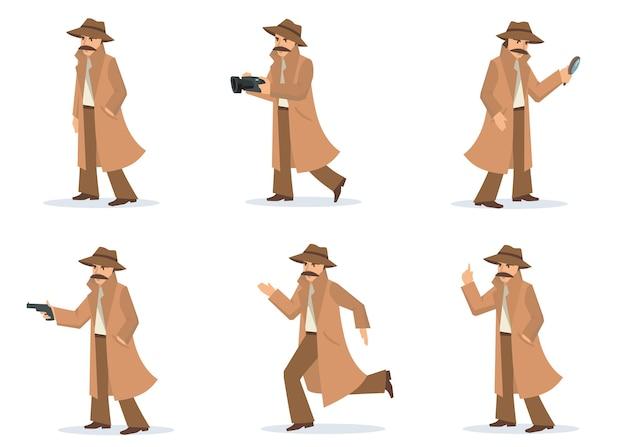 Set detective privato. investigatore in diverse azioni e pose, ispettore con baffi che indossa cappotto e cappello, scatta foto, mira pistola. per indagini, ombre, mistero