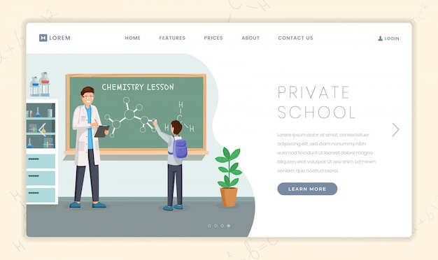 Private educational institution landing page template