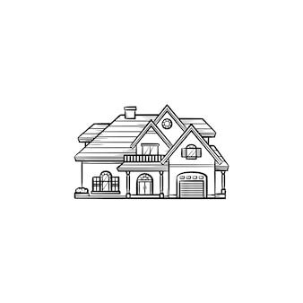 Частный дом рисованной наброски каракули значок. частная собственность, односемейный дом, иллюстрация эскиза вектора концепции ипотечной ставки для печати, интернета, мобильных устройств и инфографики на белом фоне.