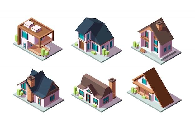民家。住宅の近代的な建物の低ポリ構造等尺性コレクション