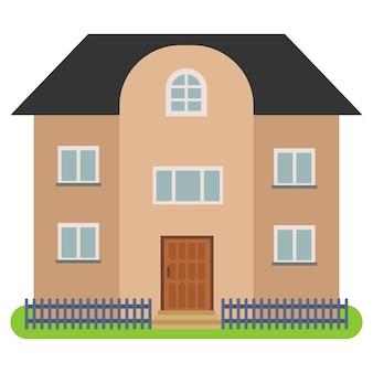 白い背景に黒い屋根と茶色の壁の民家。ベクトルイラスト。