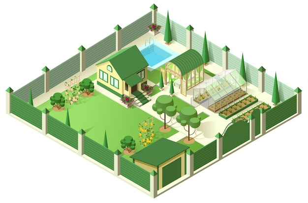 Private house yard with plot of land behind high fence. isometric 3d illustration