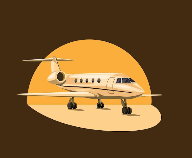 Private jet airplane on sunset concept in cartoon illustration