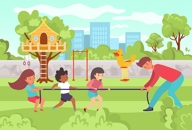 Private kindergarten male character teacher playing with happy children