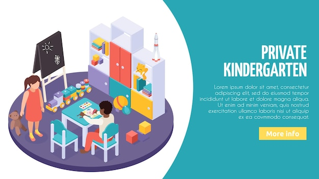 개별 놀이 학습 활동 조합 아이소 메트릭 웹 페이지가있는 사립 유치원 작은 교실 인테리어