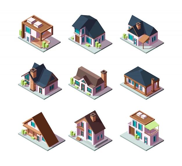 개인 현대 주택. 건물 미니어처 3d 낮은 폴리 아이소 메트릭 일러스트의 도시 주거 모델