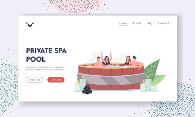 Шаблон целевой страницы для частного спа-бассейна. персонажи, сидящие в деревянной ванне онсэн с процедурой в сауне с горячей водой. расслабление, терапия, велнес, гигиена. мультфильм люди векторные иллюстрации