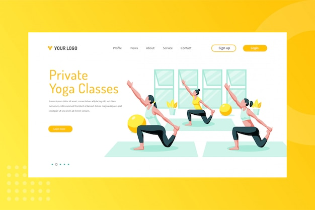 Private yoga classes illustration on landing page