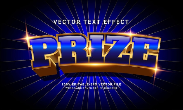 Prize 3d editable text style effect with modern blue concept