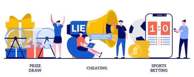 Розыгрыш призов, обман, концепция ставок на спорт. проблема с азартными играми в интернете, набор для розыгрыша призов лотереи