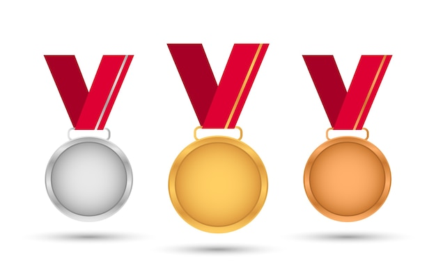 赤いリボンが付いた賞メダル。ゴールド。銀。ブロンズ。